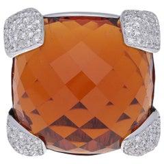 18 Karat White Gold Diamonds Citrine Cocktail Ring