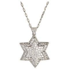 18 Karat White Gold Diamonds David Star Pendant Neclas
