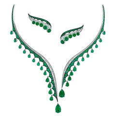 18 Karat White Gold, Diamonds, Ethically Sourced Emeralds Necklace and Earrings