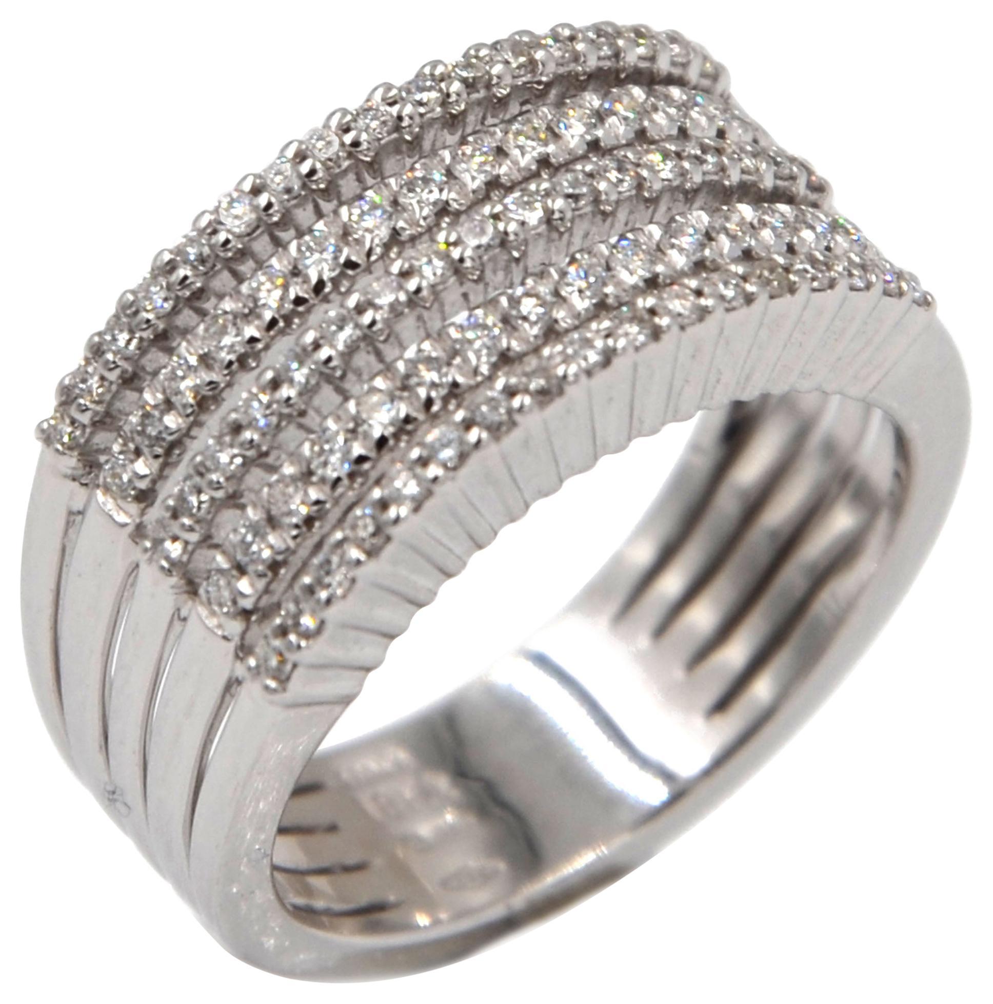 18 Karat White Gold Diamonds Garavelli Band Ring