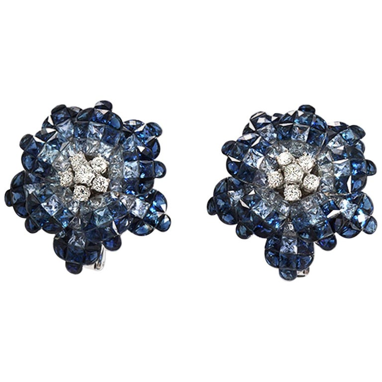 18 Karat White Gold Diamonds Invisible Set 34.26 Carat Blue Sapphire Earrings For Sale