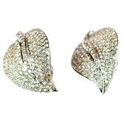18 Karat White Gold Diamonds Leaves Leaf Romantic Stud Lever-Back Earrings