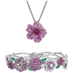 18 Karat White Gold, Diamonds, Pink Sapphire and Ruby Pendant and Bracelet