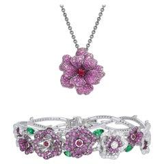 18 Karat White Gold, Diamonds, Pink Sapphire and Ruby Pendant and Bracelet