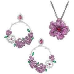 18 Karat White Gold, Diamonds, Pink Sapphire, and Ruby Pendant and Earrings