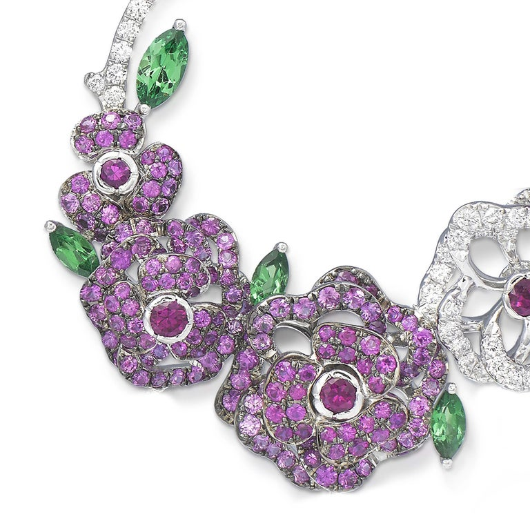 Step into a world of delight and magic, where flowers burst into bloom in a spectacular display of colourful gemstones and floral splendour. Inspired by vibrant African print, this collection is truly one of a kind. A garden alight with floral