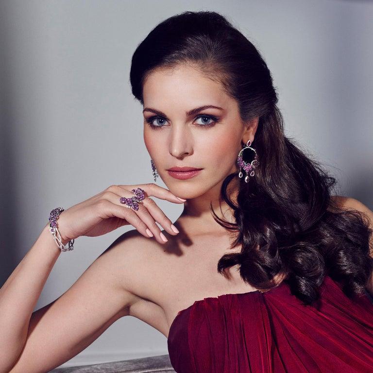 Romantic 18 Karat White Gold, Diamonds, Pink Sapphire, Ruby and Tsavorite Earrings For Sale