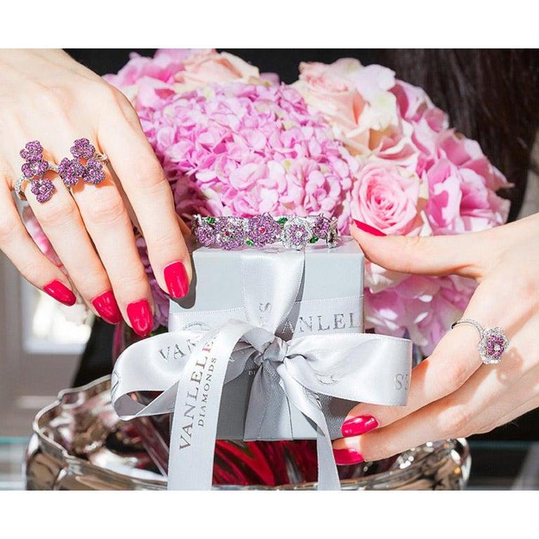 Round Cut 18 Karat White Gold, Diamonds, Pink Sapphire, Ruby and Tsavorite Earrings For Sale