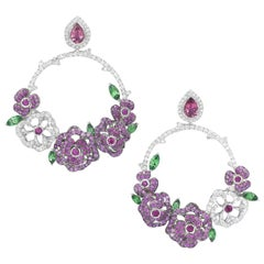 18 Karat White Gold, Diamonds, Pink Sapphire, Ruby and Tsavorite Earrings