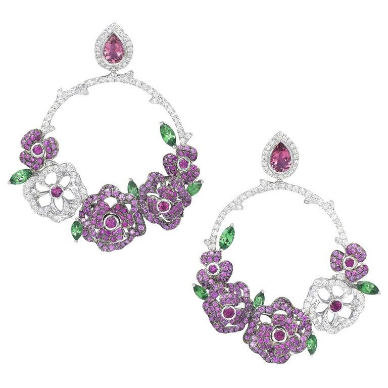 18 Karat White Gold, Diamonds, Pink Sapphire, Ruby and Tsavorite Earrings For Sale