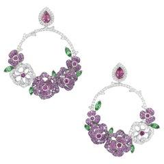 18 Karat White Gold, Diamonds, Pink Sapphire, Ruby and Tsavorite Earrings
