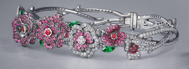 Women's or Men's 18 Karat White Gold, Diamonds, Pink Sapphire, Ruby and Tsavorite Flower Bracelet For Sale