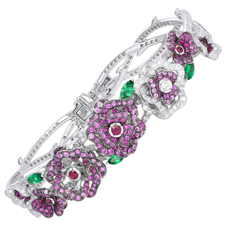 18 Karat White Gold, Diamonds, Pink Sapphire, Ruby and Tsavorite Flower Bracelet For Sale