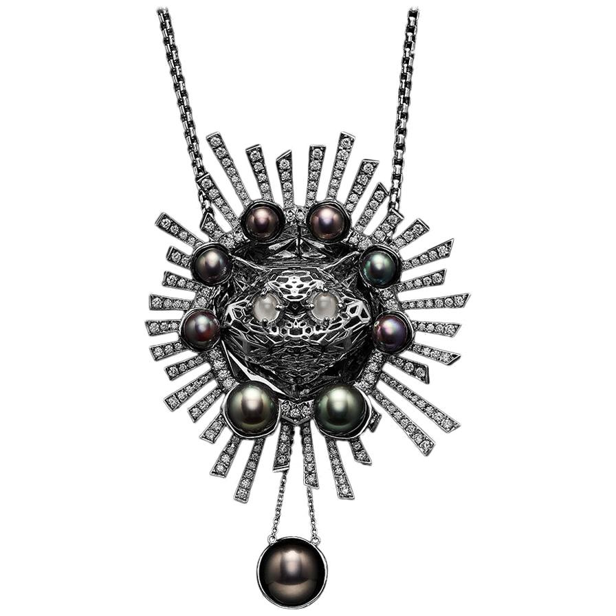 18 Karat White Gold Diamonds Tahitian Pearls Moonstones Pendant Brooch