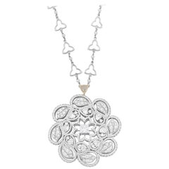 18 Karat White Gold Duomo Pendant with White Diamonds and Natural Pearls