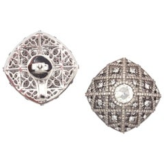 18 Karat White Gold St. Andres Cathedral Earrings with Rose Cut Diamonds