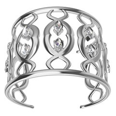 18 Karat White Gold Double Arabesque Cuff Bracelet with GIA Diamonds