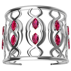 18 Karat White Gold Double Arabesque Cuff Bracelet with Rubies