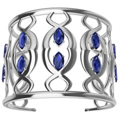 18 Karat White Gold Double Arabesque Cuff Bracelet with Sapphires