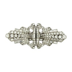 18 Karat White Gold Double Clip Brooch with Diamonds