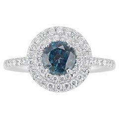18 Karat White Gold Double Diamond Halo Montana Sapphire Ring
