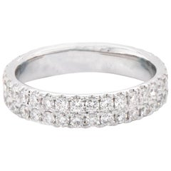 18 Karat White Gold Double Row Diamond Eternity Band