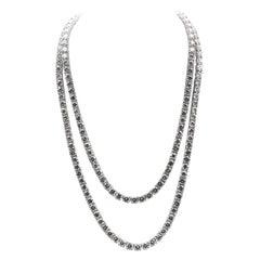 18 Karat White Gold Double Row Diamond Tennis Necklace