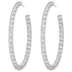 AS29  18 Karat White Gold Double Shape Diamond Large Hoop Earrings