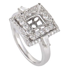18 Karat White Gold Double Squares Diamond Pave Mounting Ring CRR8249