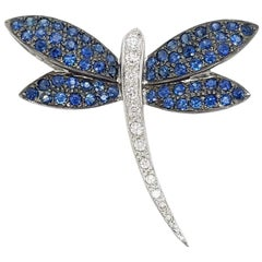 18 Karat White Gold Dragonfly Brooch Pin with Sapphires and Diamonds