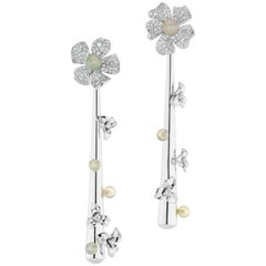 18 Karat White Gold Drop Earrings with Diamond and Opal Beads