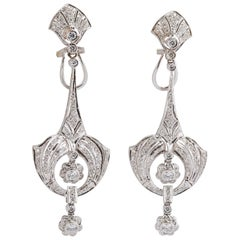 18 Karat White Gold Drop Earrings with Diamonds
