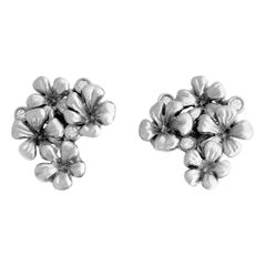18 Karat White Gold Earrings by the Artist with Diamonds, Featured in Berlinale