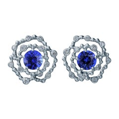 18 Karat White Gold Earrings with 2.46 Carat Sapphires and 0.43 Carat Diamonds