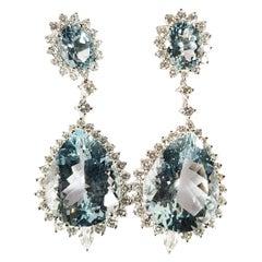 18 Karat White Gold Earrings with Diamonds and Aquamarine