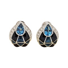 18 Karat White Gold Earrings with Diamonds, Blue Topaz & Onyx