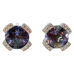 18 Karat White Gold Earrings with Purple Spinell and Diamonds