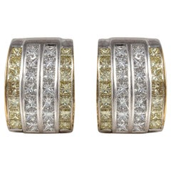 18K White Gold Earrings with Yellow and White Diamonds
