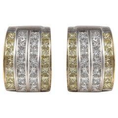 18 Karat White Gold Earrings with Yellow and White Diamonds