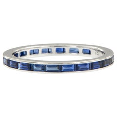 18 Karat White Gold East-West Style Baguette Blue Sapphire Eternity Band Ring