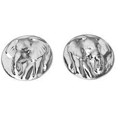 18 Karat White Gold Elephant Stud Earrings