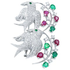 18 Karat White Gold Emerald 1.56 Carat Ruby 2.04 Carat Diamond 1.92 Carat Brooch