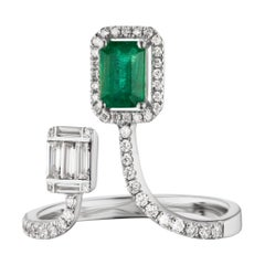 18 Karat White Gold Emerald and Baguette Diamond Cuff Ring