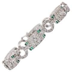 18 Karat White Gold Emerald and Diamond Art Deco Style Bracelet