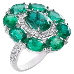 18 Karat White Gold Emerald and Diamond Cluster Ring