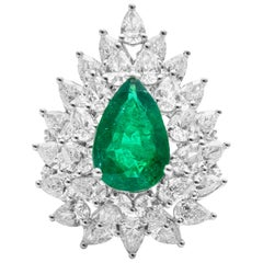 18 Karat White Gold Emerald and Diamond Cocktail Ring