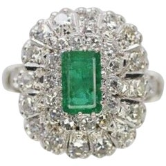 18 Karat White Gold Emerald and Diamond Cocktail Ring