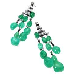 18 Karat White Gold Emerald and Diamond Drop Earrings