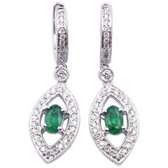 18 Karat White Gold Emerald and Diamond Drop Earrings