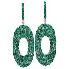 18K White Gold Emerald and Diamond Earring